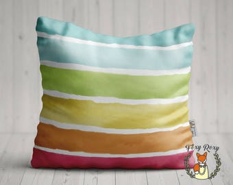 Watercolor colorful striped pillow, Colorful Pattern, Pillowcase, Pillow covers, Watercolor Art, Throw Pillow, PC-007