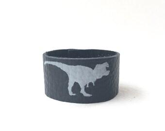 Boys Jewelry, Unisex Bracelet, T-Rex Dinosaur Leather Cuff, Handpainted Leather Wristband, Toddler Boy Bracelet, Dino Party, Toddler Gift