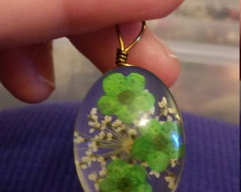 Green Pressed flower Pendent