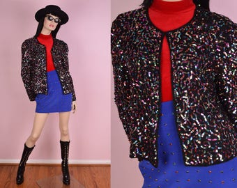 90s Colorful Sequined Jacket/ XL/ 1990s/ Beaded/ Silk