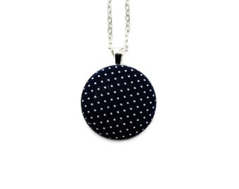 Vintage Polka Dot Fabric Pendant Necklace