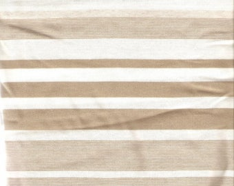 White and beige jersey fabric