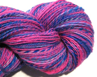 Handspun yarn, Anusara, DK weight, 2 ply, 582 yards, BFL wool yarn,  knitting supplies, blue, pink, fuschia, purple, crochet supplies