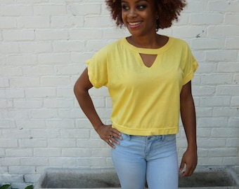 1980s Cropped Top Yellow Cut Out T Shirt