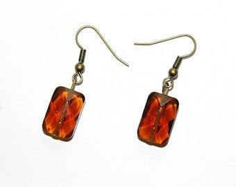 Caramel glass rectangle earrings