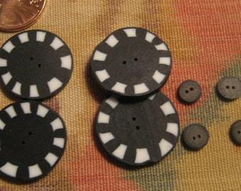 Black and White Handmade Buttons, 4 Sculpty clay checkered buttons and 4 small Sculpty clay buttons