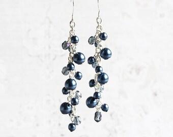Navy Pearl Earrings, Dark Blue Earrings on Silver Plated Hooks, Pearl Cluster Earrings, Bridesmaid Gift (Choose Your Hook Style)