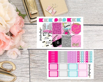 TWO DOLLAR TUESDAY Wanderlust Mini Kit Planner Stickers - For Erin Condren Life Planner or Happy Planner