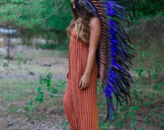 The Original - Real Feather Purple Chief Indian Headdress Replica 135cm, Native American Style Costume Hand Made War Bonnet Hat