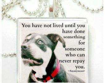 You have not lived until you have done something for someone who cannot repay you Pendant
