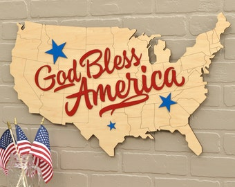 God Bless America USA Map Wood Patriotic Wall Decor
