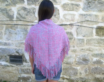 Pink and blue triangle shawl with fringe