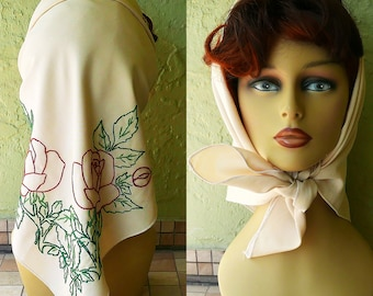 Vintage 40s Hand Embroidered Scarf, Rayon Head Wrap, Cowgirl Bandana