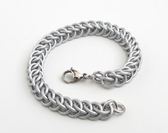 Matte silver aluminum chainmail bracelet, Half Persian 3 in 1, for men or women