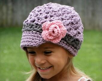 Hat for Girls, newsboy hat, crochet girls hat, baby hat, kids hat