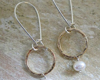 READY TO SHIP 14k gold fill hoop earrings with sterling silver kidney wires and lusty pearls