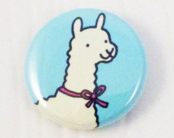 Llama with a Bow One Inch Button