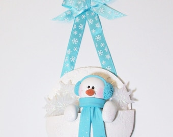 Snowman ornament in a snowflake pocket, polymer clay snowman