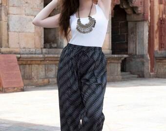 Jute Pants Organic Black Color Comfortable Trousers Elasticated Boho Yoga Urban Pallazo