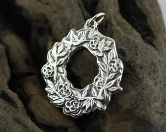 Sterling Silver Flower Pendant – Flower Crown Hummingbird Pendant – Floral Pendant Sterling Silver Flower Jewelry – Sterling Flower Pendant