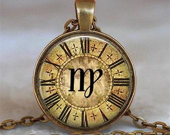 Steampunk Zodiac Virgo pendant, Virgo necklace, astrology pendant Virgo birthday gift Virgo necklace Zodiac key chain key ring key fob