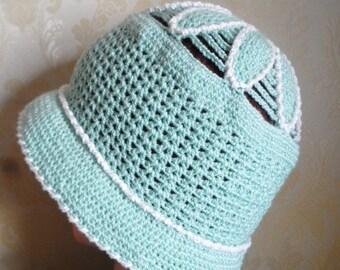 Cloche hat-Mint green color viscose crochet hat-Flower pattern original design Lady's cotton sun hat-Crochet cotton hat-Summer beach hat