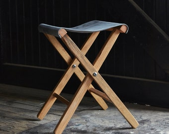 Expedition Folding Stool Lewis and Clark, Outdoor Parties, Backyard Camping Stool, Simple, Minimal, Home Decor, Gift for Men, Peg and Awl