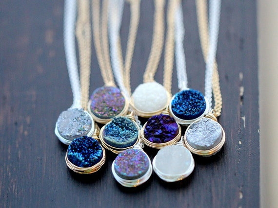 Druzy necklace gold pendant sterling silver or rose gold like this item aloadofball Image collections