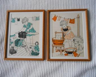 2 los niños ilustraciones de los años 1950 casa mate madera impresiones enmarcadas