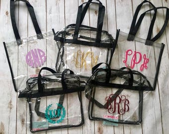 Personalized Stadium Approved Clear Totes | Clear Bags | 2 Styles | Perfect for ball games!