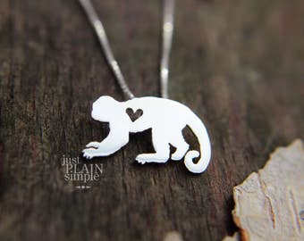 Capuchin monkey, tiny sterling silver hand cut wildlife pendant with heart