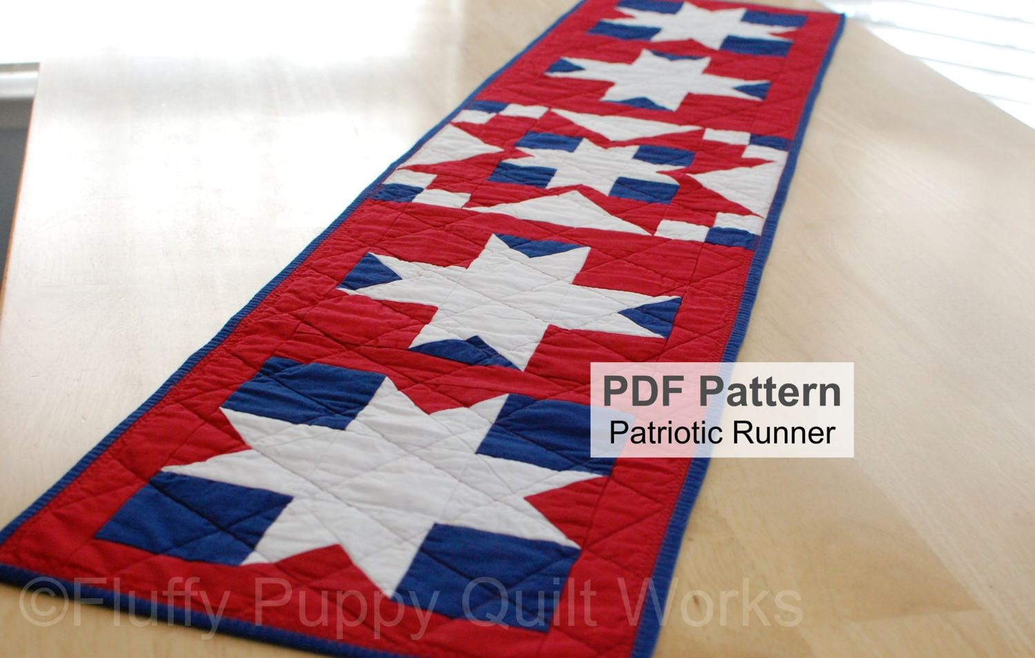 Patriotic table runner quilt pattern red white blue quilted topper this is a digital file watchthetrailerfo