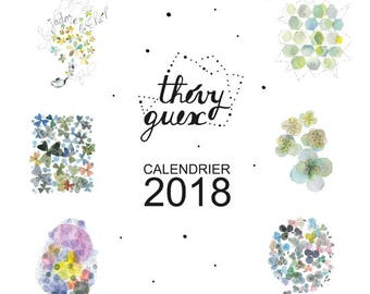 On sale, 2018 wall calendar, Watercolor 2018 calendar, New year 2018 organizer, Flower calendar, Office decor, Watercolor, Cute calendar