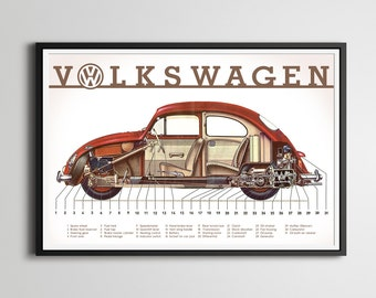 "24"" x 36"" VW Beetle Full-Size POSTER! - 1961 - Bug - Vintage Cars - Antique - Custom Prints - Various Sizes"