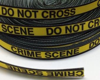 "4 Yards of 3/8"" Crime Scene Grosgrain Ribbon"