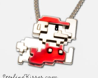 Retro 8-bit Mario Luigi Pendant in Sterling Silver (BITCOIN ACCEPTED)