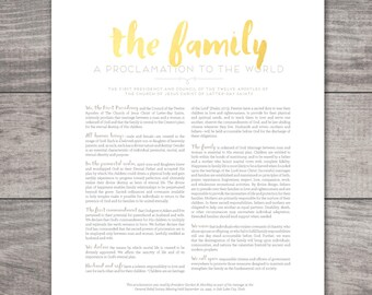LDS Family Proclamation Printable-Choose your Sizes-Digital Files
