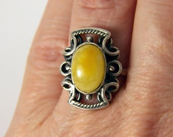 Yellow Amber Ring Sterling Silver Pattern Jewelry