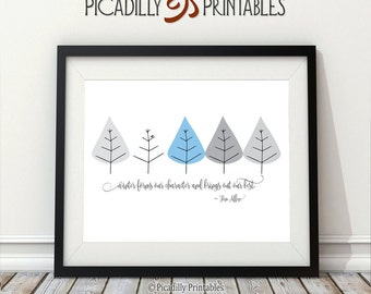 """Winter - Brings Out Our Best - Seasons Trees Bird Nature - Tom Allen Quote - Instant Download - 8 x 10"""" Wall Art Printable"""