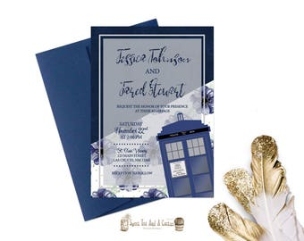 Doctor Who Tardis Wedding Invitation Printable Digital File or Prints with Free Shipping Blue Floral Sci-fi Announcements