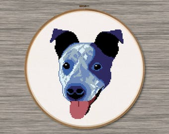 Blue Heeler Face  - PDF Cross Stitch Pattern