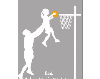 Father and daughter playing basketball, Fine art print, silhouette, wall decor, Mothers Day