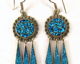Taxco Sterling Turquoise Chip Mosaic Inlaid Dangle Earrings ~ Signed TC-42