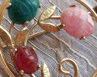 Vintage Scarab Brooch or Pin Accessory Costume Jewelry Gold Tone Metal Agate Natural Stones Green Pink Red