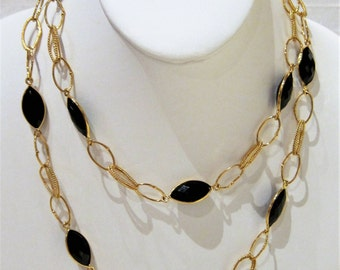 Black Onyx Gold Plated Long Necklace