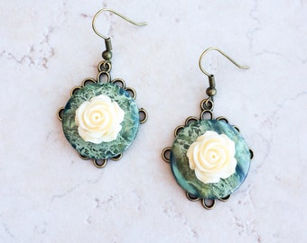 Green Agate Stone Earrings, Green Button Flower Earrings