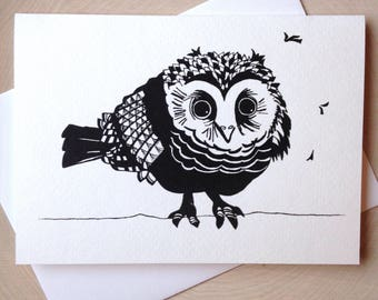 Owl Card, 5 x 7 Black and White Illustrated Blank Card, Baby Owl Card, Birthday Card, Gift for Women, Gift for Her, Owl Lover Gift