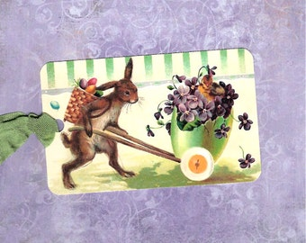 Easter Tags, Bunny Tags, Vintage Style Tags