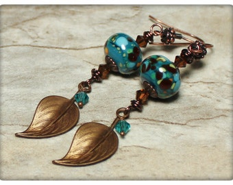 French Tarragon... Handmade Jewelry Earrings Beaded Lampwork Glass Crystal Antique Bronze Copper Teal Blue Green Boho Lightweight Leaves
