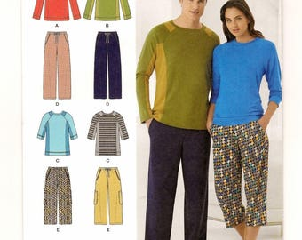 """A Casual Wear Separates Pattern for Men & Women: 2 Versions of Pants and Tops - Uncut - Sizes XS-S-M-L-XL, Chest 30"""" - 48"""" ~ Simplicity 1503"""